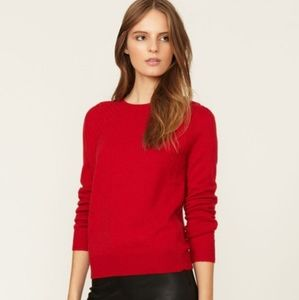 Red Cotton Blend Crew Neck Sweater